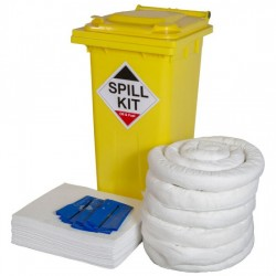 120LTR OIL & FUEL SPILL KIT IN WHEELIE BIN