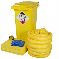 125LTR CHEMICAL SPILL KIT IN WHEEL BIN