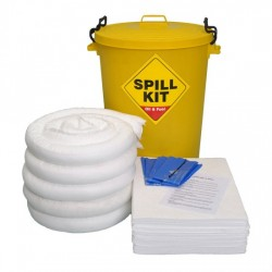 100LTR OIL & FUEL SPILL KIT IN PLASTIC BIN